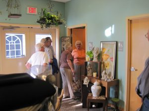 """Checking out the """"Packer Bathroom"""" at Waukesha Floral!"""