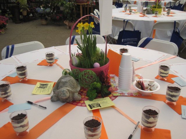 The volunteers always set a beautiful table, with fresh flowers and plants helping to welcome spring!